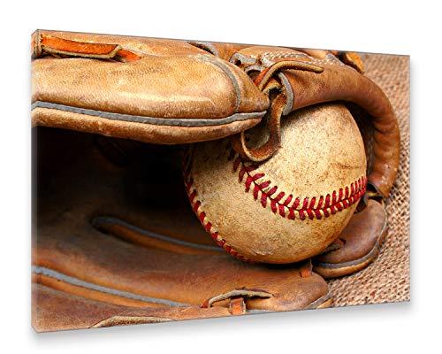 Postereck - Premium Leinwand - 0126 - Baseball Handschuh und Ball MLB USA Sport Spiel - Größe 50,0 cm x 35,0 cm