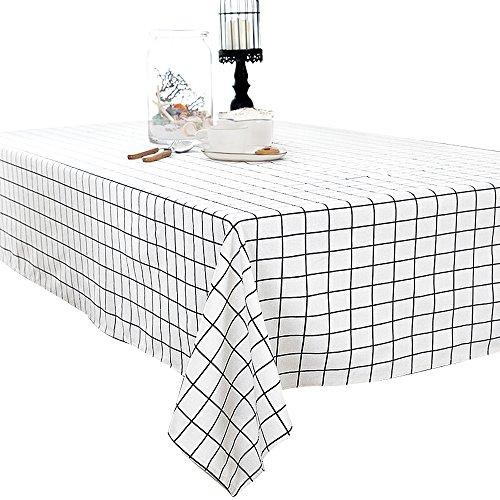 Lattice Nappe en coton et lin Housse de table de bar Restaurant rectangulaire 140 x 140 cm, Tissu, blanc, 140*140