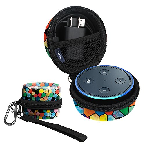 Fintie Protective Carrying Case for Amazon Echo Dot 2nd Generation - Shock Proof EVA Cover Zipper Portable Travel Bag Box (Fits USB Cable and Wall Charger), Stained Glass