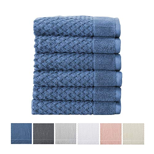 Great Bay Home 100% Cotton Hand Towel Set (16 x 28 inches) Highly Absorbent, Textured Luxury Hand Towels. Grayson Collection (Set of 6, Blue)