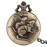 LYMUP Reloj de Bolsillo Retro Completo Retro Zodiaco Diseño de Rata Colgante Reloj Antiguo Collar de Bronce de Moda Cadenas,Vapor (Color : 80 Cm Necklace Chain)