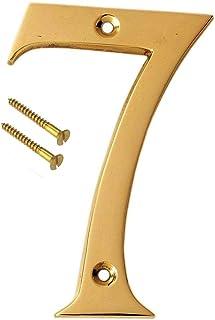 "eSplanade 4"" Brass House Hotel Door Number Plaque Sticky Numeric Numerical Digit 0-9 (7 (Seven))"