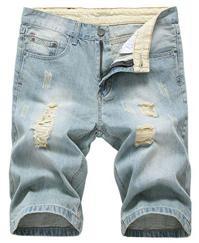 chouyatou Men's Classic Fit Stylish Distressed Straight Leg Ripped Denim Shorts (34, Light Blue)