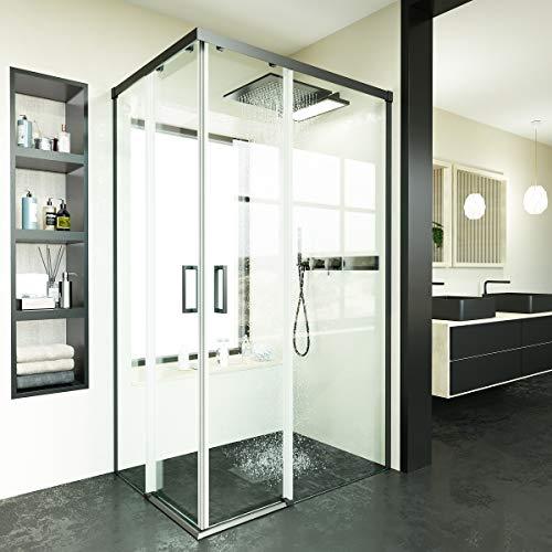 VAROBATH.Mampara de ducha rectangular con cristal transparente 6 mm y perfil acabado en negro. (70 a 90 x 70 a 88)