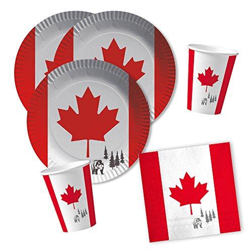 DH-Konzept 40-teiliges Party-Set Kanada - Teller Becher Servietten für 10 Personen