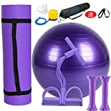 ydssy Yoga-Matte Yoga-Ball-Set Kombination Fitnessgeräte Home Yoga-ausrüstung Kompletten Satz Lila...
