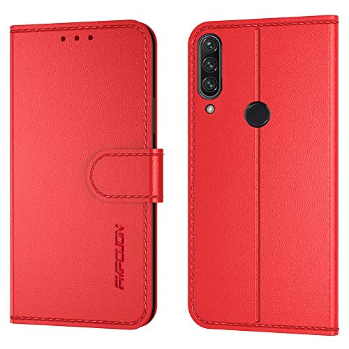 FMPCUON Handyhülle Kompatibel mit Huawei P40 Lite E/Y 7P(Neueste),Premium Leder Flip Schutzhülle Tasche Hülle Brieftasche Etui Hülle für Huawei Honor Play3(6,39 Zoll),Rot