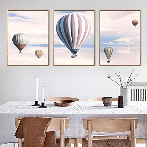 WJY Globo aerostático de Helio Cielo Rosa Lienzo póster Arte de Pared Paisaje Pintura decoración Imagen para decoración del hogar 40cmx50cmx3 Sin Marco