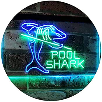 ADVPRO Pool Shark Snooker Pool Room Man Cave Gift Dual Color LED Neon Sign Green & Blue 16  x 12  st6s43-i2009-gb
