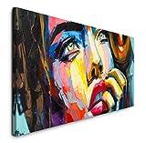 Paul Sinus Art GmbH Frau in bunt 120x 50cm Panorama Leinwand Bild XXL Format Wandbilder Wohnzimmer Wohnung Deko Kunstdrucke