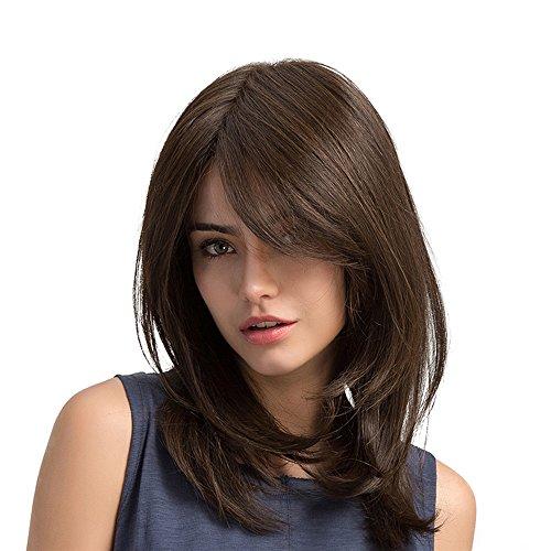 Anself 19' Perruques Brun Cheveux Longs Droites Naturel, Postiche Haute Densité Cosplay Synthétiques Perruque pour Femmes et Fille, 48cm Perruque Femme Naturelle
