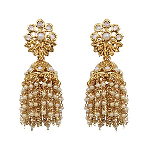 SANARA Indian Bollywood Gold Plated Leaf Style Jhumki Golden Chain Pearl Polki Earring Women Wedding Fashion Jewelry (Pearl)