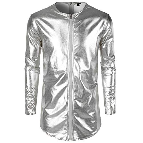 Yczx Men's Metallic Jackets Fashion Shiny Long Sleeves Tops Casual Long Jackets Retro 70s Disco Party Wedding Night Club Costume Performance Christmas Halloween Party Outfit L
