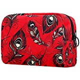 Bolsa de maquillaje bolsa de aseo de viaje, nailon resistente al agua, pluma de pavo real negra en rojo