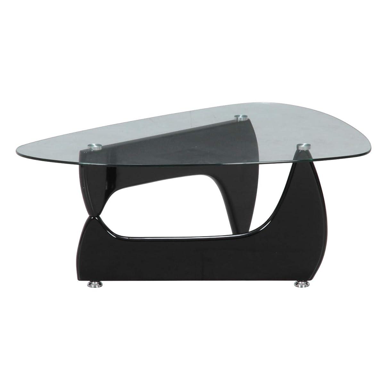火星あさりしたがって不二貿易(Fujiboeki) ガラスセンターテーブル ブラック 幅100×奥行75cm ルーク 【2梱包】 96140