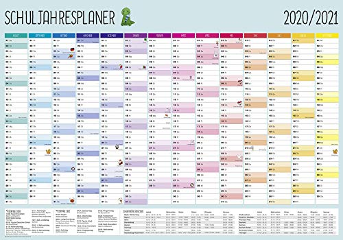 Close Up XXL Schuljahresplaner 2020/2021-14 Monate - Poster/Plakat - Premium Wandplaner mit lustigen Illustrationen für Schüler, Lehrer & Eltern - 100 x 70 cm | NEU: mit Kalenderwochen - Gerollt