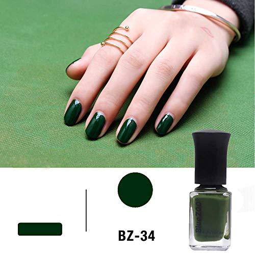 Pintauñas 6 ml, Serie Verde, Color Sólido, 60 Seconds Seco, Esmalte de Uñas 2 Colores(verde oscuro)