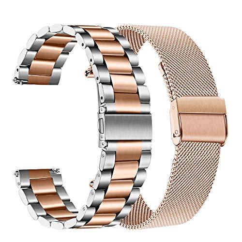 TRUMiRR Compatible con Galaxy Watch 42mm/Galaxy Watch Active/Gear Sport Correa de Reloj, 20mm Acero Inoxidable de Metal sólido Correa de Malla Banda de Reloj para Garmin Vivoactive 3/3 Music