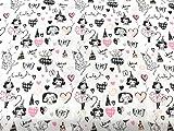 tela de princesas y corazones 100% algodón popelina 1 mts x 140 cms