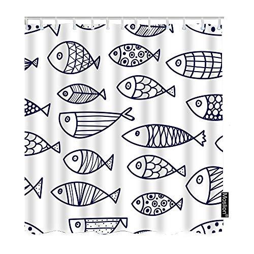 Moslion Duschvorhang Fisch 91,4 x 182,9 cm, Meeresmotiv Ozean Outdoor Creature Cute Cartoon Unterwasser Polka Dots Linie Lustige Duschvorhang für Badezimmer Dekoration Polyester