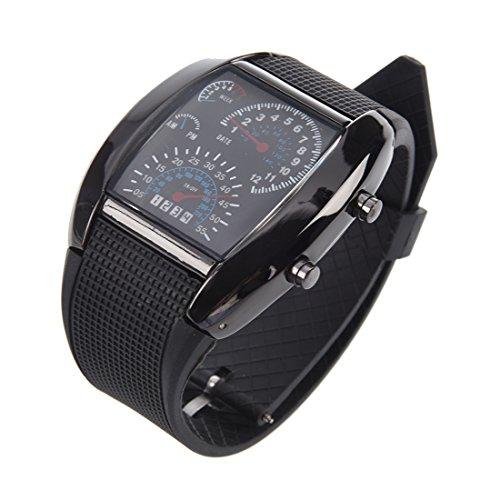 Runtodo Shot-in LED reloj sector deportivo coche medidor dial reloj de pulsera para hombres