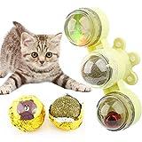 MHwan Placa giratoria de Juguete para Gatos, Juguete Gato Giratorio, Molino de Viento Tocadiscos Juguete para Gatos con Bola de Hierba gatera Pequeña Campana Bola LED para Gatos Gatito, 4.5X14.5CM
