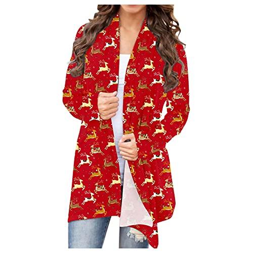 Women's Christmas Cardigan Jacket Casual Leopard Coat Open Fromt Loose Fall Winter Jackets Blouse