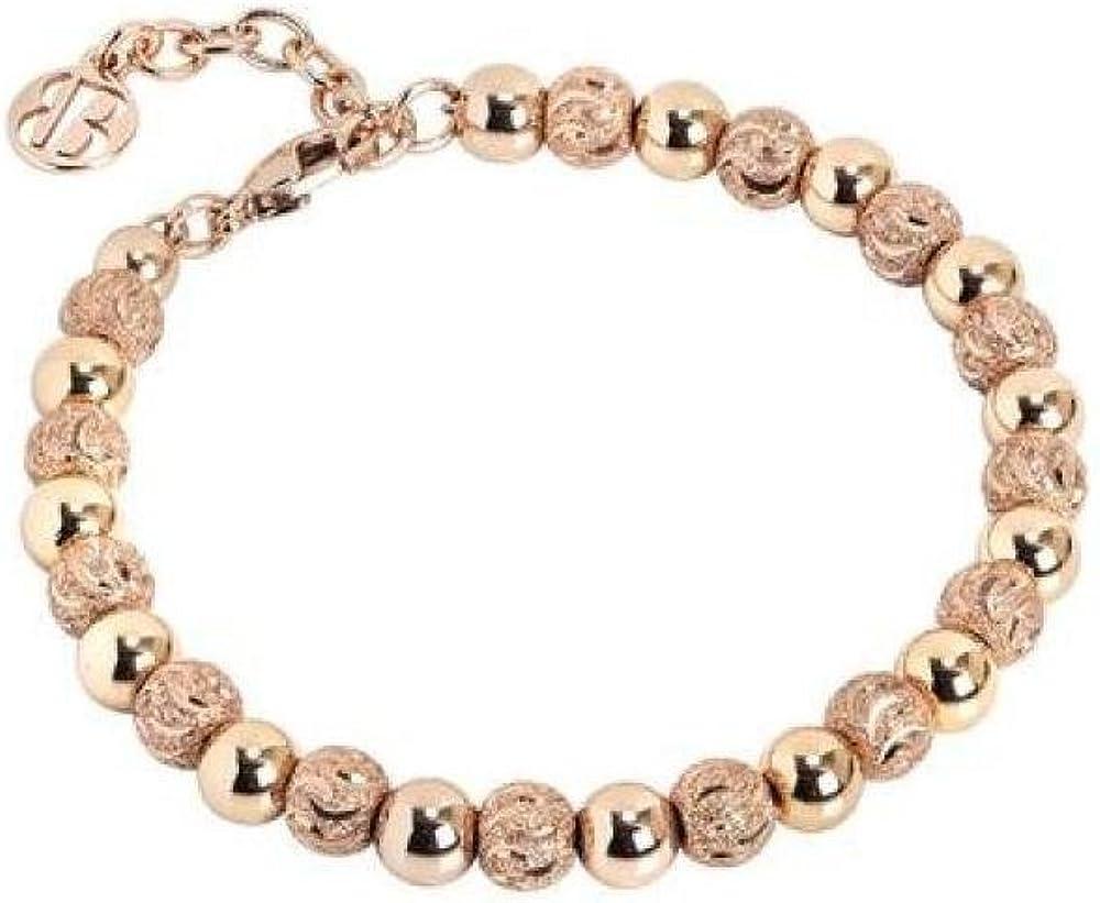 Boccadamo,bracciale per donna,in bronzo placcato oro rosa con perle lisce e sfere diamantate XBR558RS