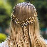 Jovono Diadema dorada para boda con diamantes de imitación para mujeres y niñas