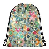 Yuanmeiju Gilt & Glory Colorful Moroccan Mosaic Shoulder Bolsa con cordón Backpack String Bags School Rucksack Gym Sport Bag Lightweight