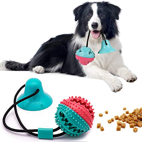 DGGHOMY Suction Cup Dog Toy, Dog Chewing Toy Tug of War Game Ball, Dog Chewing Rope, Tooth Cleaning and Molar Toy, Multifunctional Interactive Training Dog Toy