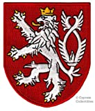 HIGH QUALITY EMBLEM CZECH COAT OF ARMS embroidered PATCH iron-on BOHEMIAN LION CREST APPLIQUE new Size: 3.5 x 2.9 inches