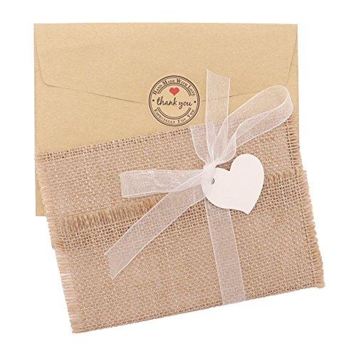 AerWo 50 unidades de invitaciones de boda rústicas de arpillera con páginas interiores, sobres, sellos adhesivos, cintas y marcadores de corazón para bodas, bodas de bosque y baby shower