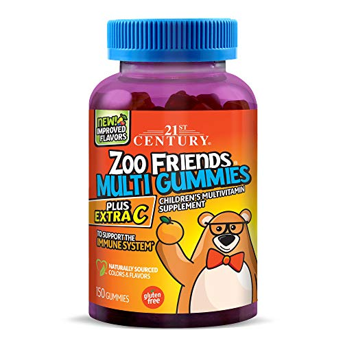 21st Century Zoo Friends Multi Gummies Plus Extra C, Orange, Lemon and Cherry, 150 Count
