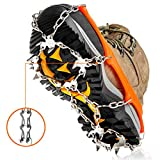 Crampons Ice Cleats Traction Snow Grips for Boots Shoes Women Men Kids Anti Slip 19 Stainless Steel Spikes Safe Protect for Hiking Fishing Walking Climbing Mountaineering (Orange, Large)