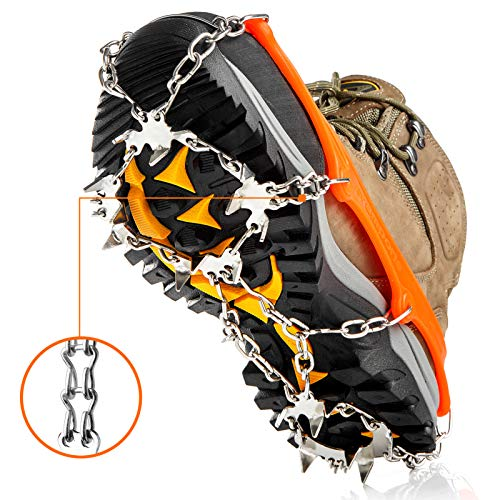 Crampons Ice Cleats Traction Snow Grips for Boots Shoes Women Men Kids Anti Slip 19 Stainless Steel Spikes Safe Protect for Hiking Fishing Walking Climbing Mountaineering (Orange, Medium)