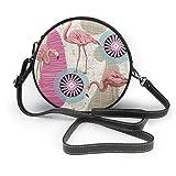 En un fondo rosa Seaml patrón de las mujeres mano redonda Crossbody Sra. hombro Menger bolsa personalizada Tote