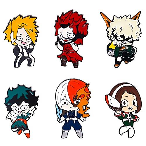 Hilloly 6 Pezzi Spilla con Anime My Hero Academia Simpatica Spilla di Smalto Cartoni Animati Set Spilla Smalto per Abbigliamento Borse Giacche Accessorio Artigianato Fai da Te
