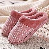 Zapatillas de Interior cálidas Zapatillas de Dormitorio,Zapatos caseros cálidos y Sencillos,Pantuflas de algodón de Felpa para Interiores-Red_38-39,Zapatillas de Hombre y Mujer de Felpa de algodón