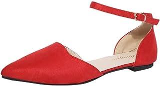 Dubocu LLC Women's Buckle Strap Low Heels Pumps Pointed Toe Flock Heels Sandals