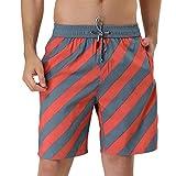 Lars Amadeus Pantalones Cortos a Rayas del Traje de baño del Bloque del Color de la Cintura del cordón del Verano de los Hombres Naranja Gris 34