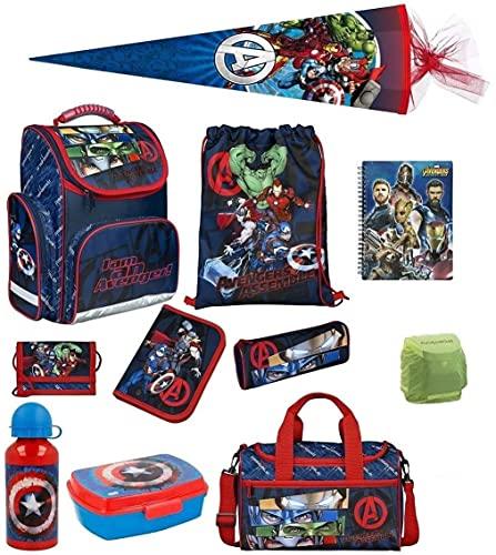 Familando Avengers Schulranzen-Set 11tlg. mit Dose/Flasche Sporttasche Federmappe Schultüte 85cm und Regenschutz Hulk Thor