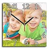 LaMAGLIERIA Orologio Personalizzato con la Tua Foto - Orologio da Parete in Vetro - Quadrato 30cmx30cm, Classic