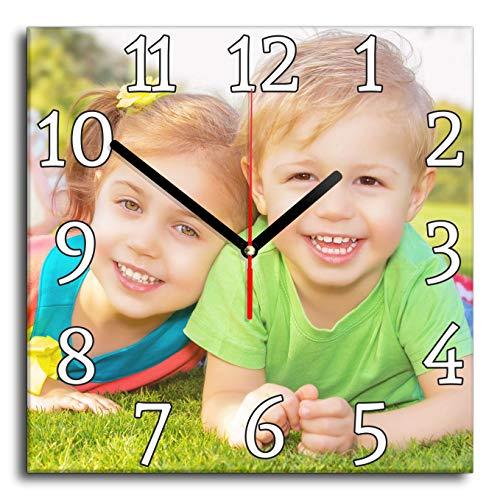 LaMAGLIERIA Reloj de Pared Personalizado con tu propria Foto - Reloj de Pared en Vidrio - Quadrado 30cmx30cm, Classic