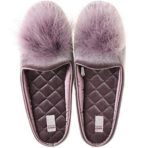 U/A Fregona de Piso de Madera Interior Encantadora de Las Mujeres de Las Zapatillas de algodón silenciosas del otoño y del Invierno Fregona del hogar de la Felpa