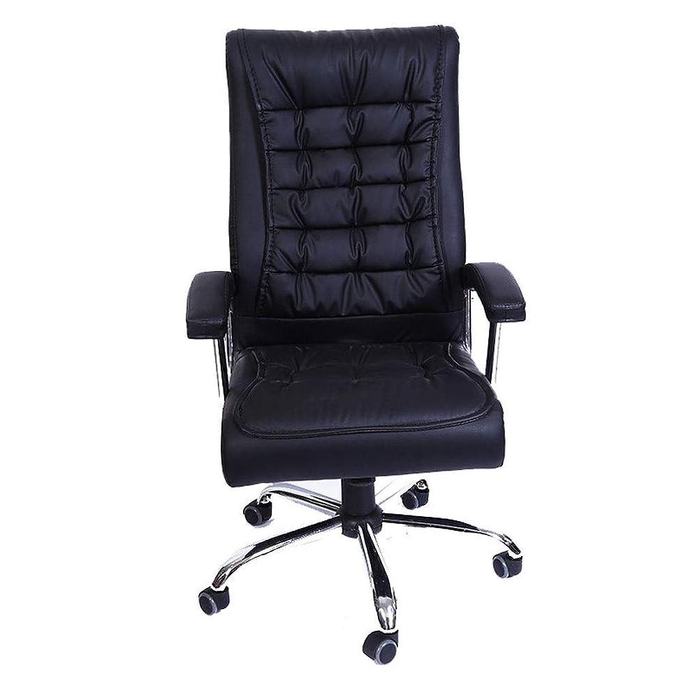 値するぬれたレギュラー椅子 ハイバックエグゼクティブオフィスチェア、オフィススイベルチェア快適な人間工学フェイクレザーデスクコンピュータ椅子の腕、360度旋回、ブラック Love Shop