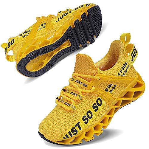 Vivay Unisex-Kinder Turnschuhe Sportschuhe Hallenschuhe Leicht Atmungsaktiv Laufschuhe Sneaker für Jungen Mädchen,2Gelb,34 EU
