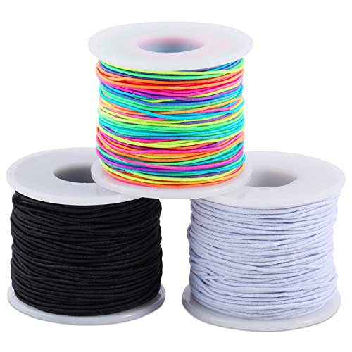 3 Pack Elastic Cord Beading Thread Stretch String Craft Cords for Jewelry Making 50 Meters/Roll (Black, White, Rainbow Colors)