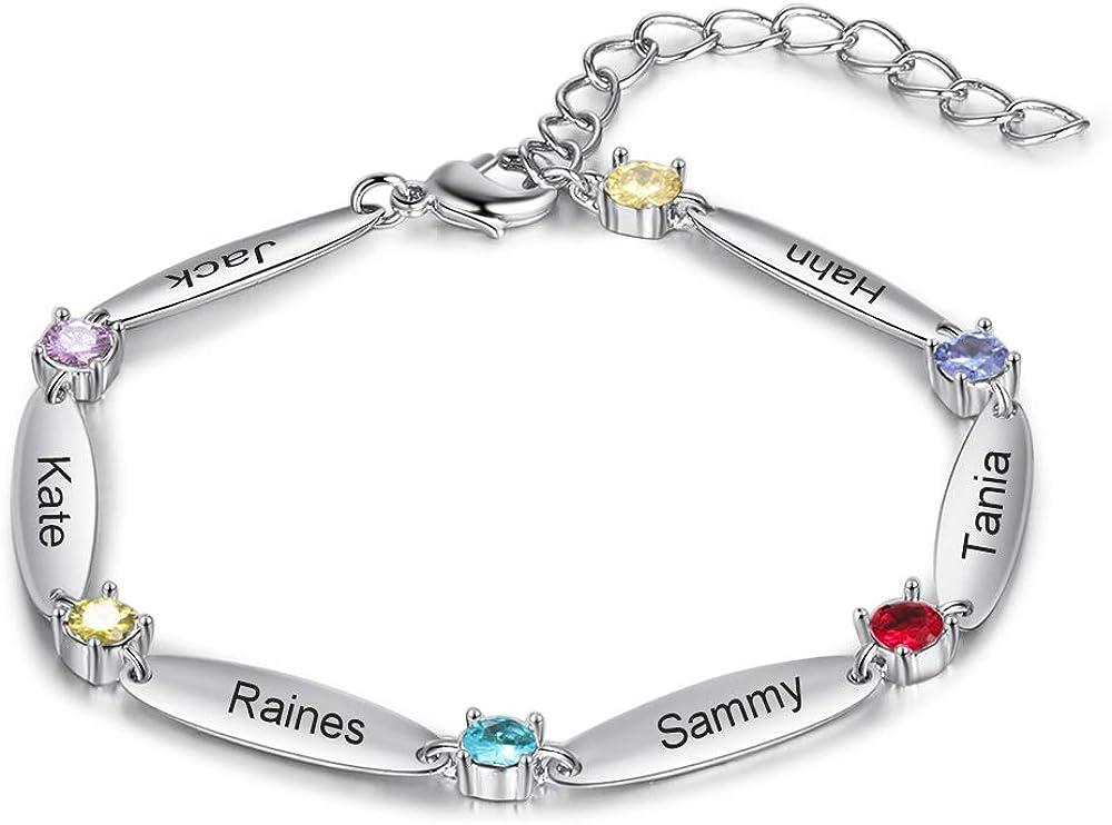 Personalized Simulated Birthstone Bracelets Adjustable Bangle Bracelets for Women with Name Custom Letter Initial Engraved Mom Bracelets BFF Bracelets