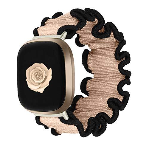 Vozehui - Cinturino in morbido tessuto elastico, compatibile con Fitbit Versa 3/Fitbit Sense, traspirante di ricambio Scrunchies per Versa 3/Fitbit Sense, da donna e da ragazza